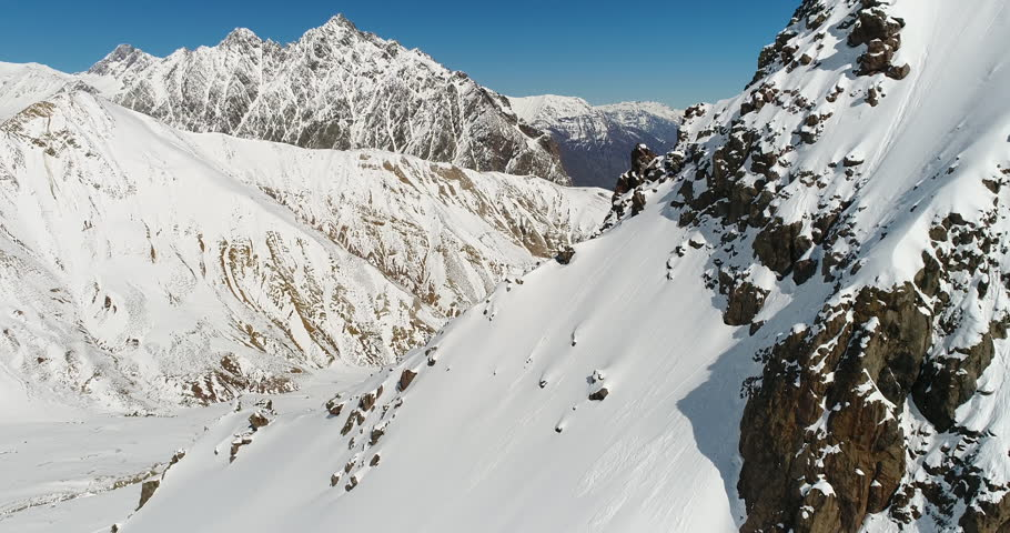 Chile Winter Weather Maipo Canyon Andes Mountains Aerial Drone Flyover Rocks | Shutterstock HD Video #32721037