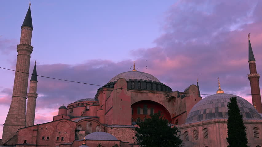 Hagia Sophia cathedral on sunset, Istanbul, Turkey | Shutterstock HD Video #32740957