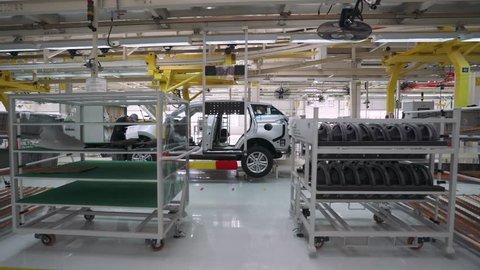 BELARUS, BORISOV - OCTOBER 19, 2017:Automobile plant, modern production of cars, car body assembly process, view of automated production line, October 19 in Belarus.