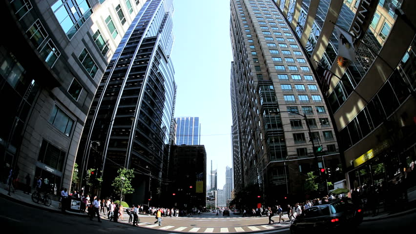 P.O.V. driving traffic intersection people crossing Chicago August 18, 2012 | Shutterstock HD Video #3276281