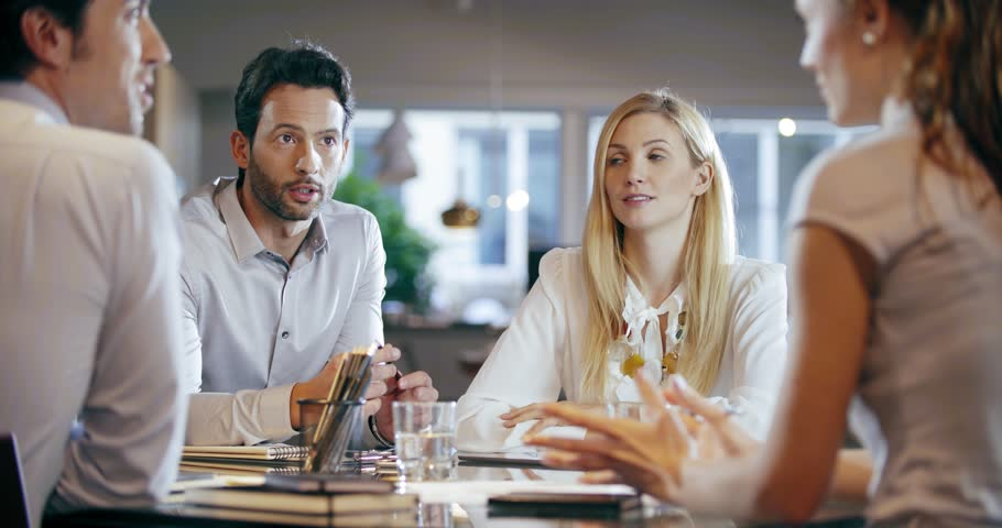 Corporate business team work meeting at office.Four caucasian businessman and businesswoman people group talking strategy together.Collaboration, growing, success concept using chart. 4k video | Shutterstock HD Video #32794207