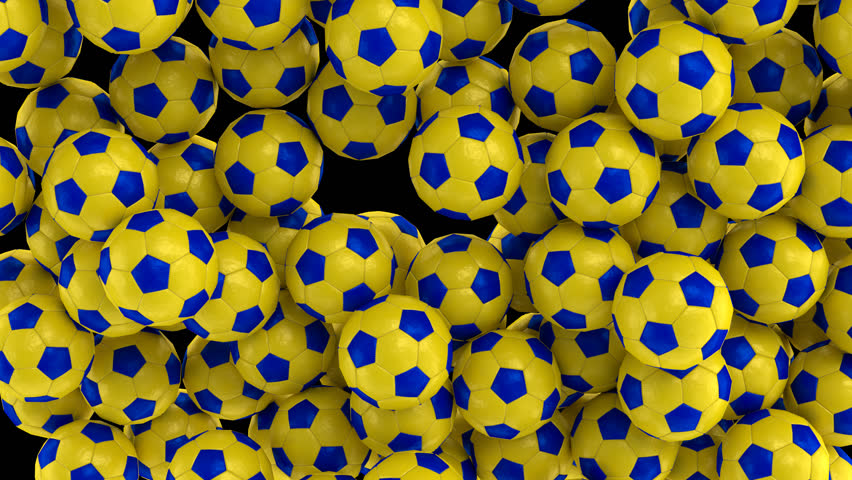 Animated simple soccer balls with plain yellow and blue material falling and tumbling filling up container against transparent background. Top camera view.  Alpha channel embedded with PNG file.   Shutterstock HD Video #32799742