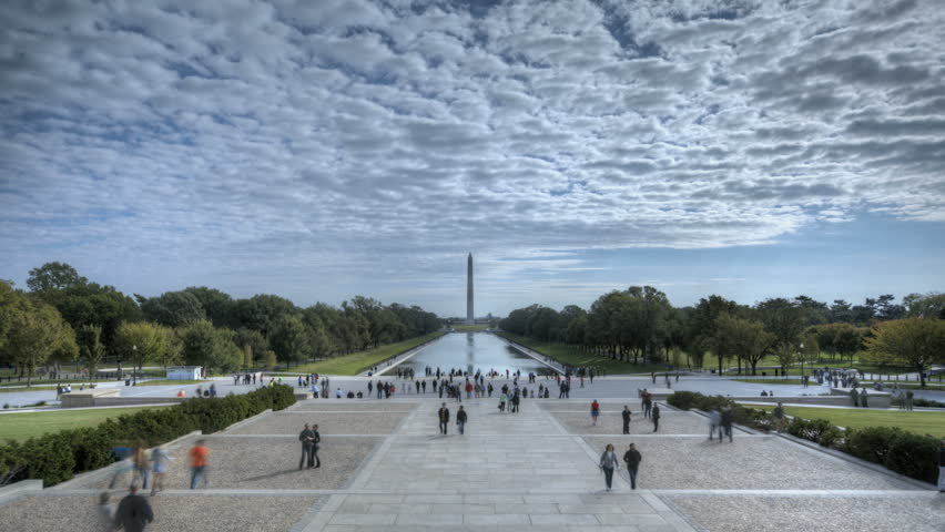 WASHINGTON D.C. - OCT 14: Timelapse of Tourists visiting Washington Lincoln Memorial with view to the Monument and Reflecting Pool on October 14, 2012 in Washington D.C., USA