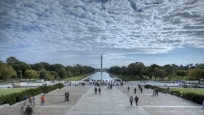 WASHINGTON D.C. - OCT 14: Timelapse of Tourists visiting Washington Lincoln