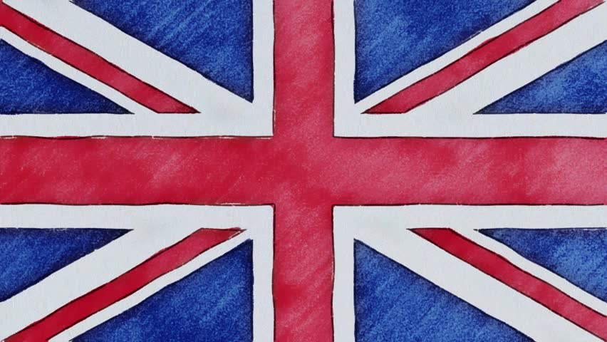 stop motion of pencil drawn British flag cartoon animation - new quality national patriotic colorful symbol video footage