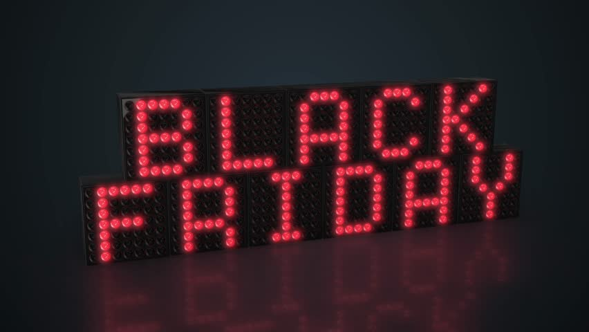 Black Friday red LED display glowing on dark background in 4K