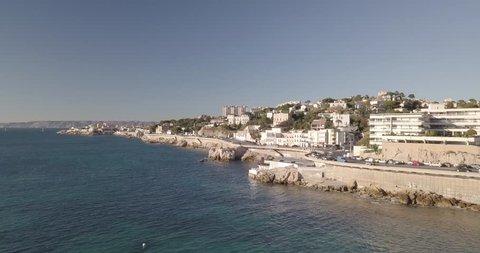 City Coastline Aerial View. France, Marseille and Corniche Kennedy