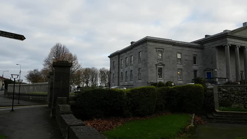 Ennis, Ireland - Nov 17th, 2017: Ennis Court Office, Offices & Maps and Courts Service of Ireland. Was built in 1850 in a Neoclassical style.
