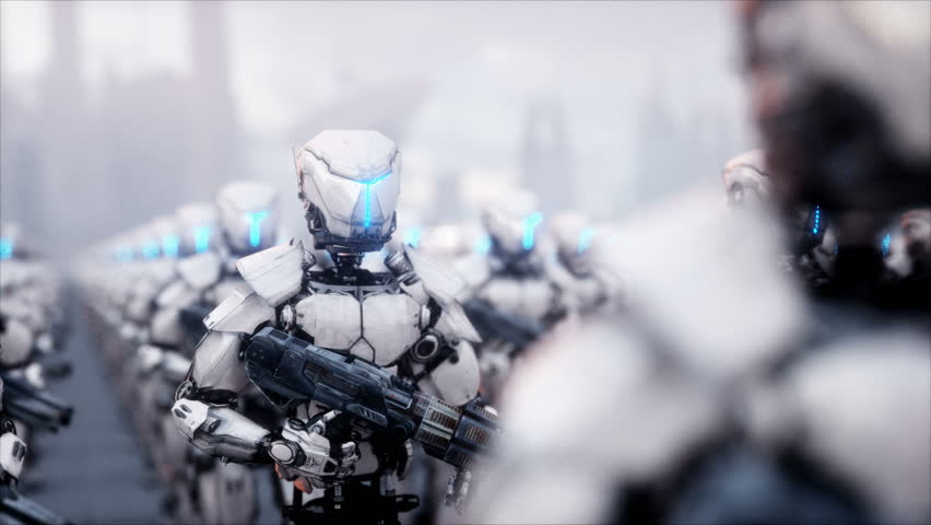 invasion of military robots. Dramatic apocalypse super realistic concept. Future. 4k animation.