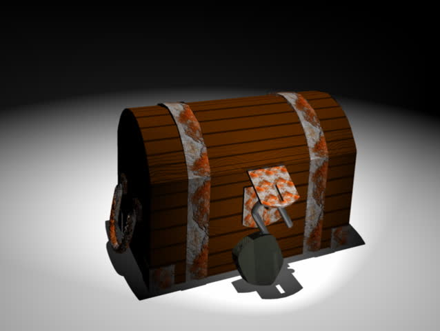 Computer-generated 3D animation depicting a treasure chest (concept: wealth)
