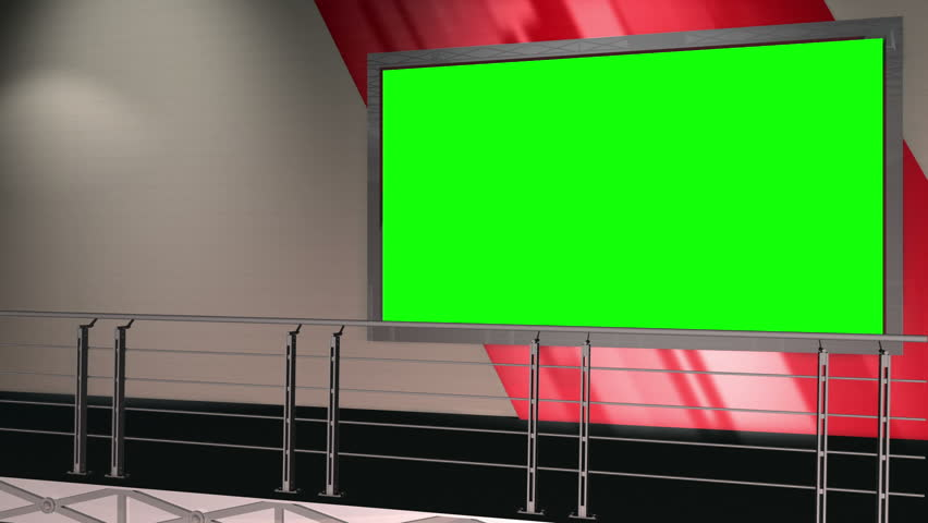 Virtual Set 12 - Balcony Newsroom Studio Background Shot | This is a virtual studio background that can be used in green screen video production to place your presenter into a newsroom.