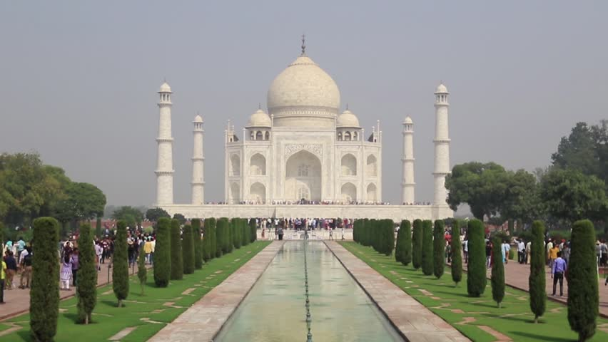 People visited world one of 7 wonder Taj Mahal, Agra, India | Shutterstock HD Video #32945857