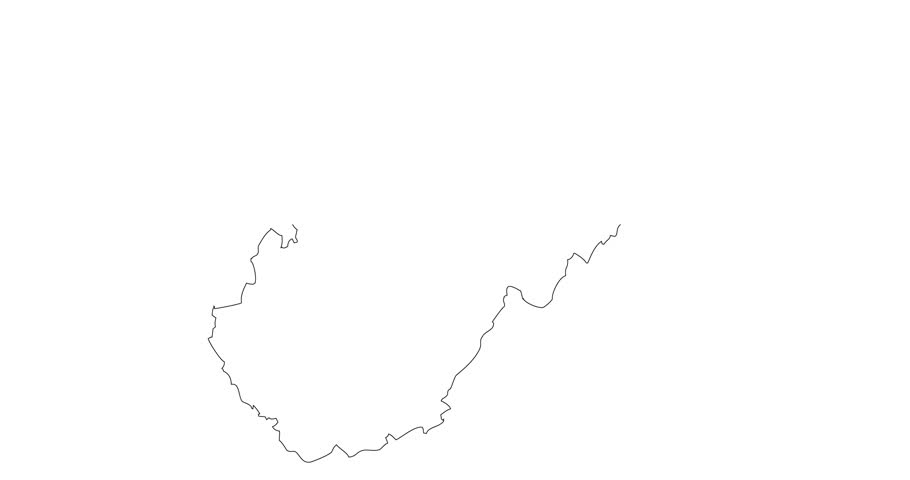 outline map of west virginia black contour on white background 4k stock video