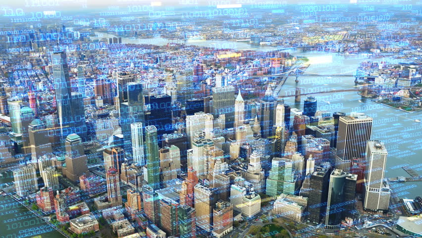 Big data over New York aerial shot. Futuristic city where every building, appliance, device and person is connected, forming a computer network  Perfect to illustrate: internet of things, smart cities