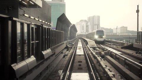 KUALA LUMPUR, MALAYSIA - NOVEMBER 15, 2017 : Malaysia MRT (Mass Rapid Transit) train, a transportation for future generation.