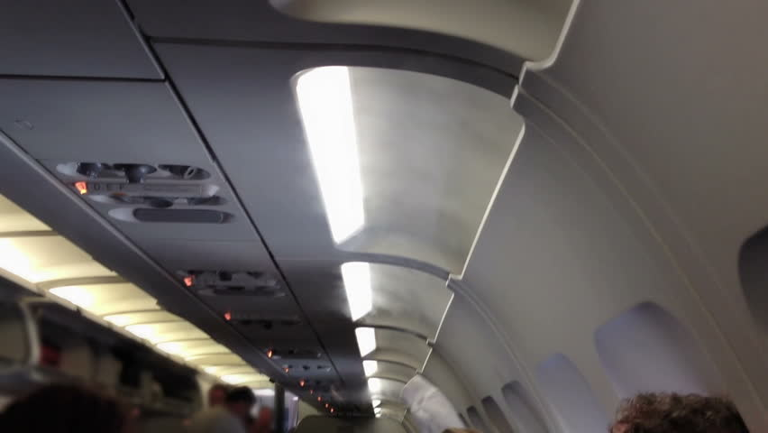 Vapor from climate control vents enters the cabin of an airplane.