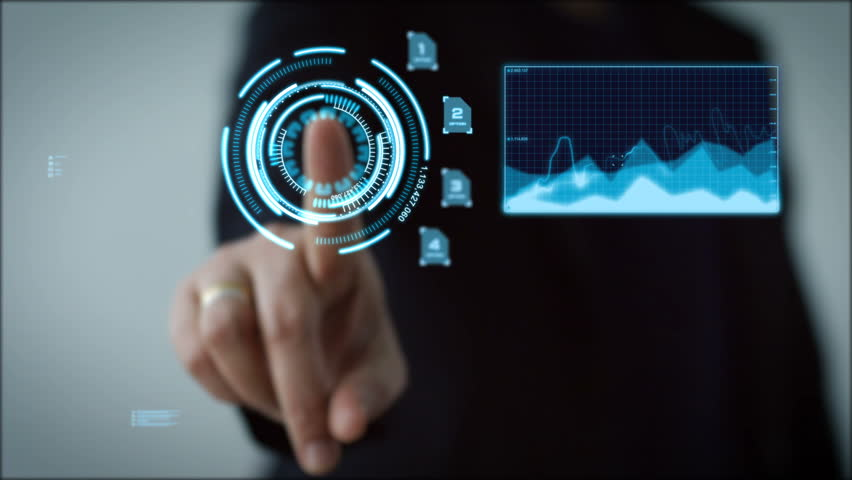 4K Business woman pointing finger on HUD And graph bar pi for Cyber futuristic concept technology element on the dark background