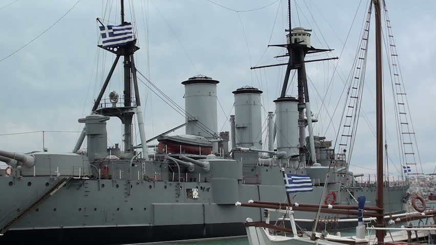 Athens - 2012: The Georgios Averof. - An armored cruiser built in 1910. Now a floating museum in Palaio Faliro.