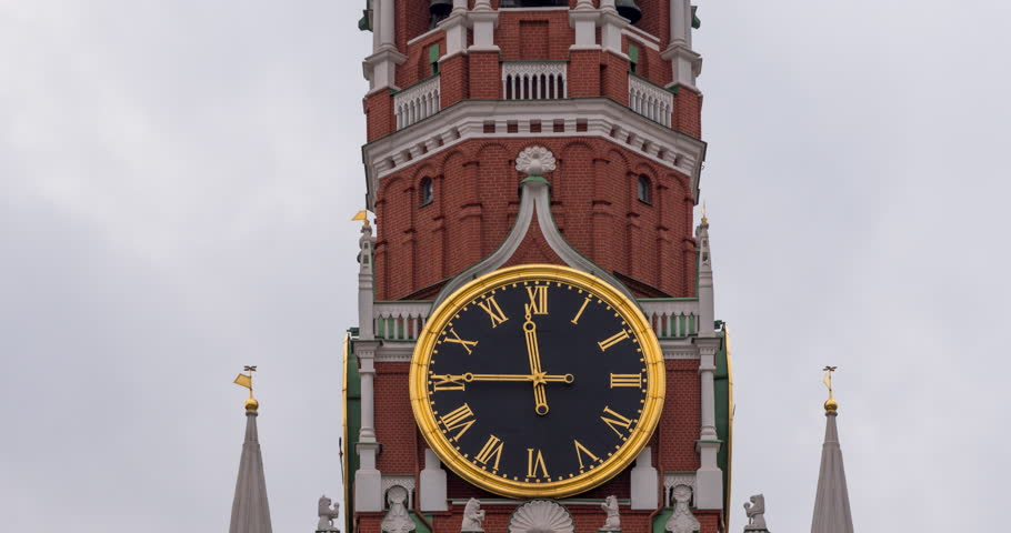 Moscow Kremlin Main Clock named Kuranti on Spasskaya Tower 12 hours . Red Square. Timelapse.