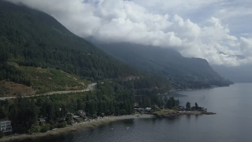 Aerial 4k Drone View Of The Beautiful Sea To Sky Highway And Brunswick Beach In Howe