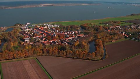 Aerial view at the Historic city Willemstad (Noord-Brabant), The Netherlands. Shot by drone in autumn