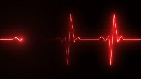 Cardiogram cardiograph oscilloscope screen red