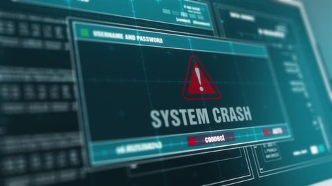 Computer Screen Entering Login And Password With Showing SYSTEM CRASH Alert System Security Warning .