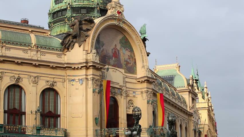 Art nouveau building, Municipal House, theater and opera house in Prague, Czech Republic. #3306212