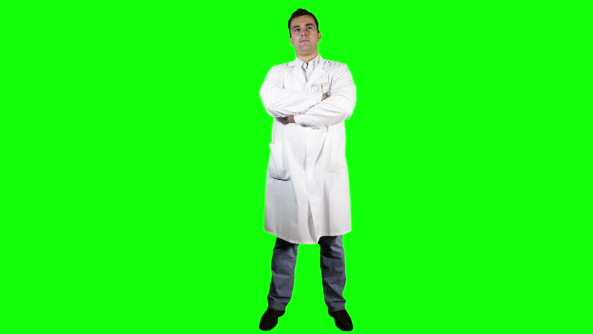 Young Doctor Scientist Full Body Greenscreen  Footage was shot against green screen and is keyed out The background is pure green that's why removing the green is easy Green spills are removed