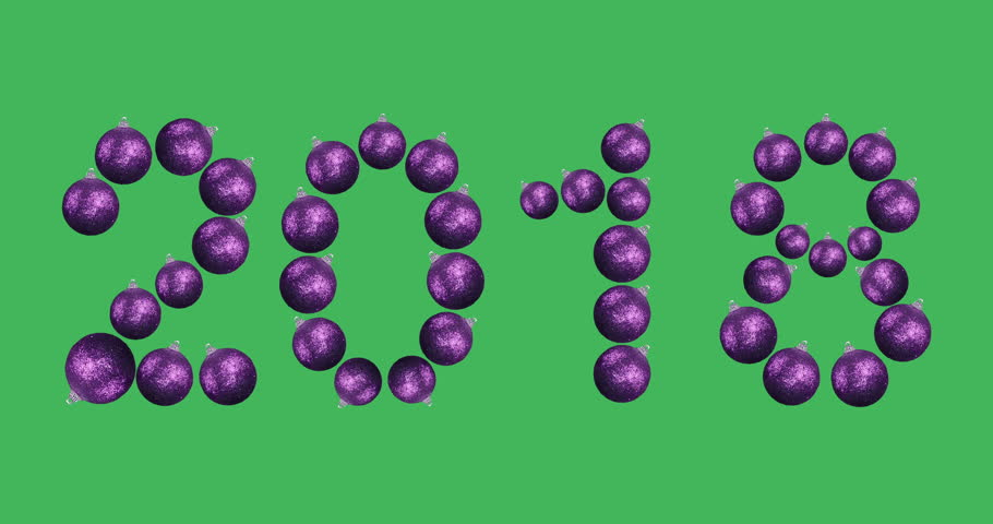 New year 2018. Animated numbers. The symbols of digits consist of rotating purple balls for decorating a Christmas tree. 360 degrees looped rotation shot on green screen. | Shutterstock HD Video #33108391
