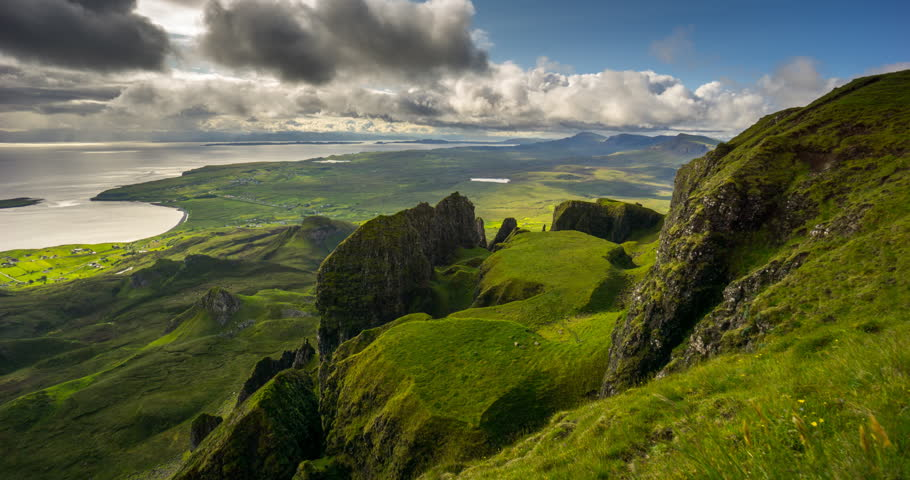 Clouds moving over The Table rock formation in Quiraing group, Trotternish, Isle of Skye, Scotland | Shutterstock HD Video #33111127