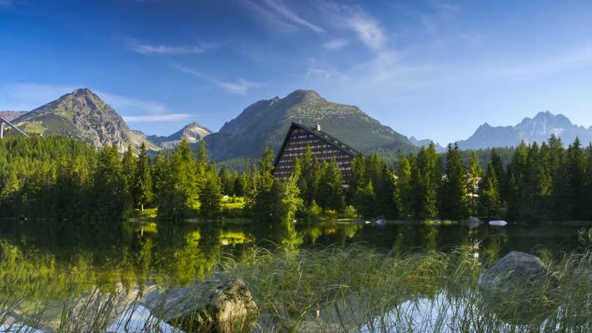 Time lapse clip. Mountain lake in National Park High Tatra. Strbske pleso,