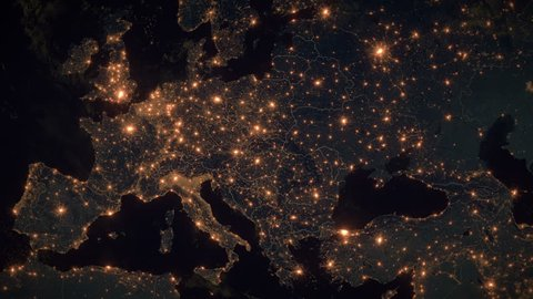 World Zoom Into Central and Eastern Europe - Planet Earth. The Night View of City Lights. Political Borders of Central and East European Countries. Poland, Hungary, Czech Republic, Romania, Ukraine.