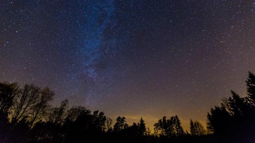 Starry night sky with startrails 4k time lapse stock - Starry sky 4k ...