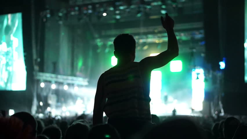 Shot of some cheering fans at a life concert, slow motion, some visible noise due high ISO, soft focus, also normal speed version of this video available in my portfolio | Shutterstock HD Video #3316067