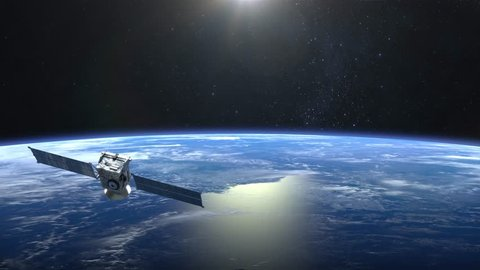 The satellite scan and monitor the Earth. The satellite slowly flies away. The earth rotates slowly. 4K.
