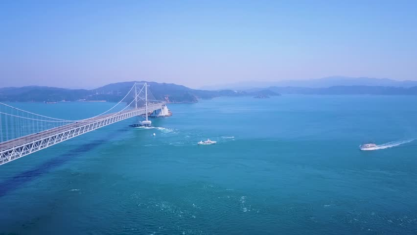Aerial Great Naruto Bridge And Whirlpool Viewing Boats