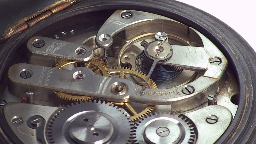 Beautiful mechanism of old watch working