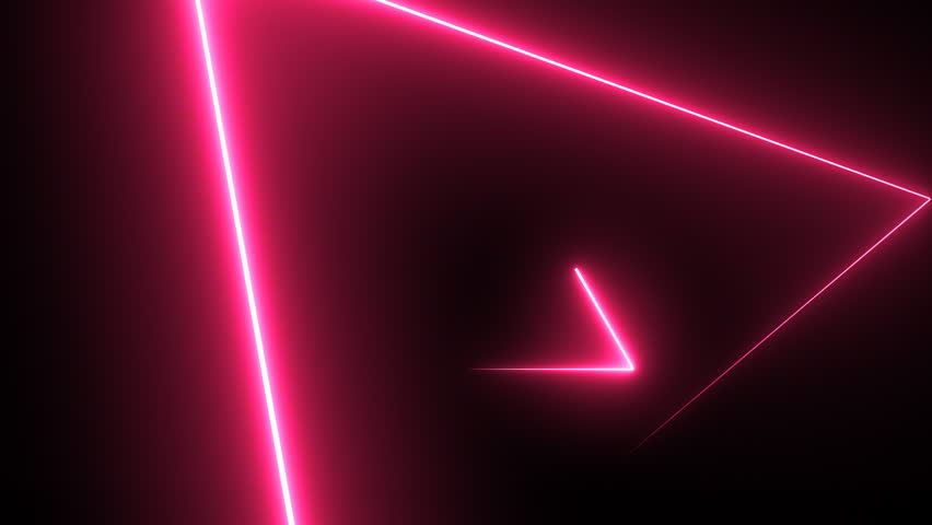 Abstract background with neon triangles. Seamless loop