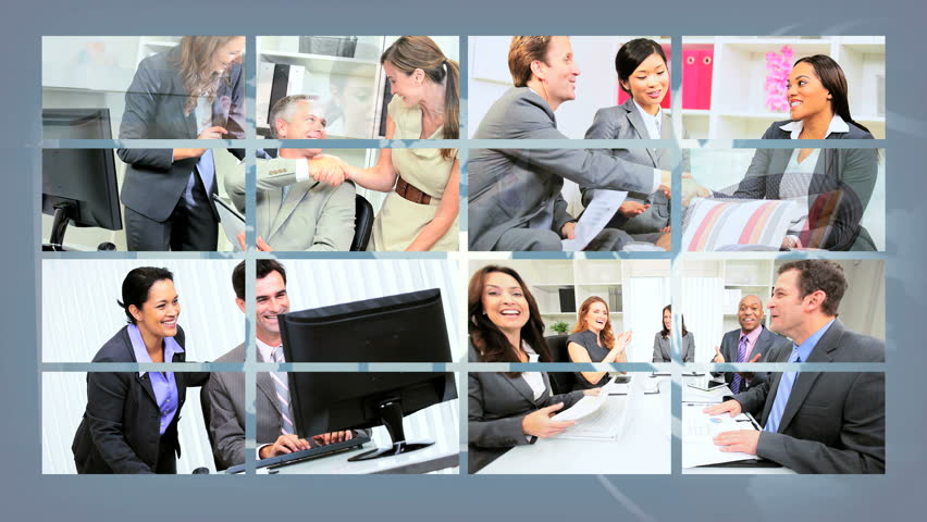 Montage collection of young multi ethnic business people using modern wireless computer communication technology | Shutterstock HD Video #3326027