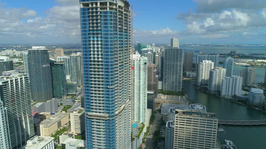 BRICKELL, FL, USA - NOVEMBER 20, 2017: Aerial Brickell Panorama Tower near completion   Shutterstock HD Video #33261487