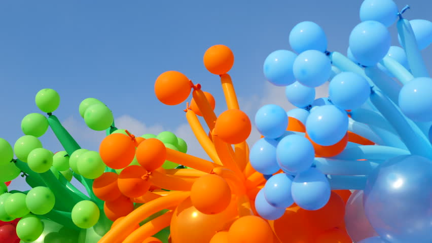 Festive accessories : Balloons on a background of blue sky. a lot of balloons in the sky  | Shutterstock HD Video #33366067