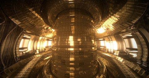 Fusion reactor Tokamak. Reaction chamber. Fusion power. Seamless loop 4k uhd High quality realistic animation