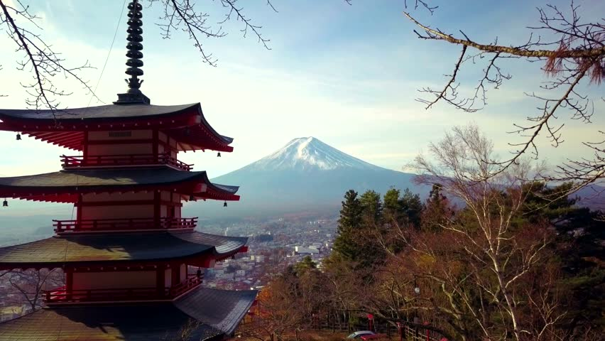4K video of Mt. Fuji, view from behind Chureito Pagoda, Japan.