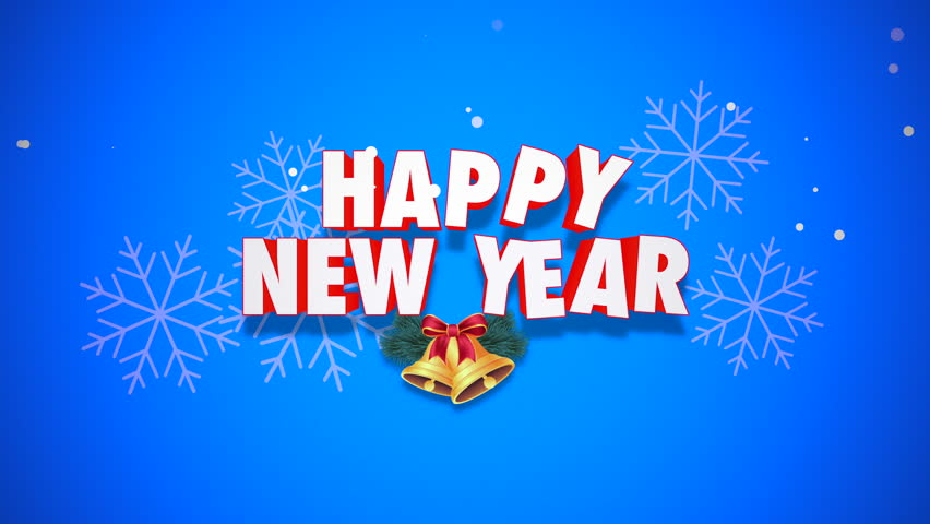 Happy New Year 2018 Text, Animated Footage In 4K. Close Up Christmas Bells  And