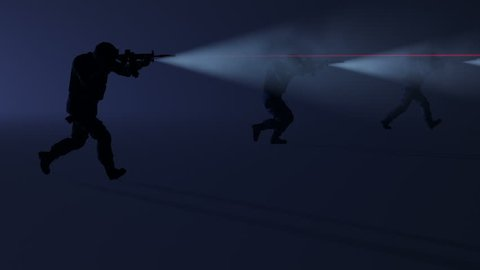 3D animation of a swat team in action with the flashlights and laser sights on