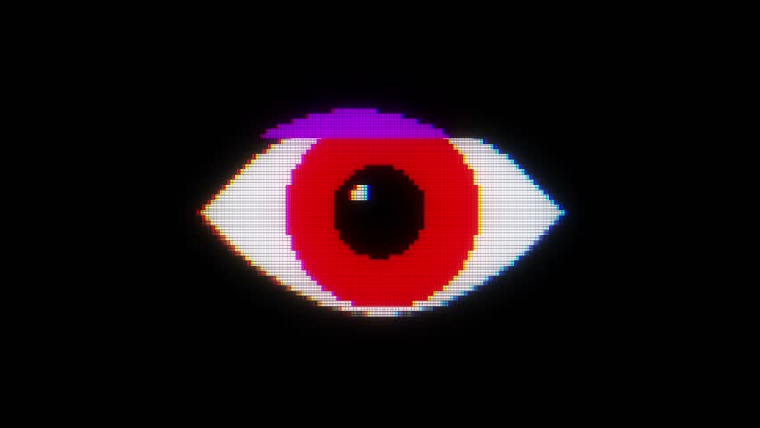 red pixel eye symbol on glitch lcd led screen display background animation seamless loop ... New quality universal close up vintage dynamic animated colorful joyful cool video footage
