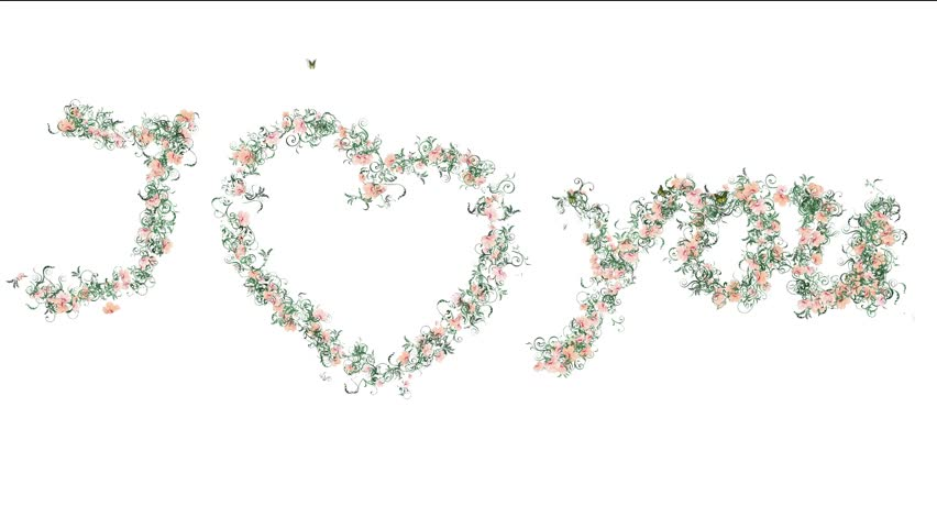 Hdi Love You Animated Flower Words
