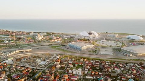 Russia, Sochi - September 03, 2017: Panorama of Olympic Park in Sochi, the venue of the 2014 Olympics, the 2018 FIFA World Cup, Formula 1 Racing - Sochi Autodrome, From Dron, Departure of the camera