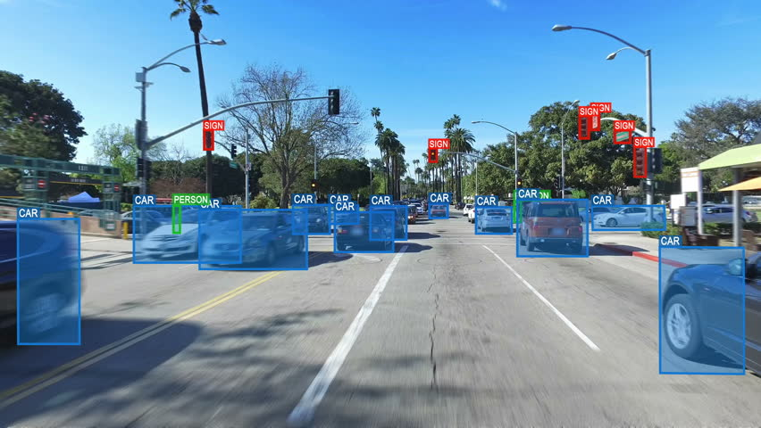 Autonomous or driverless car computer vision. Object detection system creates boxes to recognize objects in the streets. Artificial intelligence technology. Futuristic. More options in my portfolio.